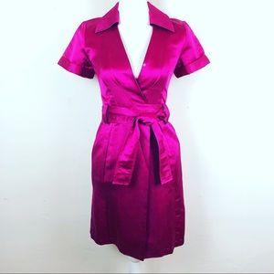 Diane von Furstenberg Fuchsia Satin Wrap Dress 2